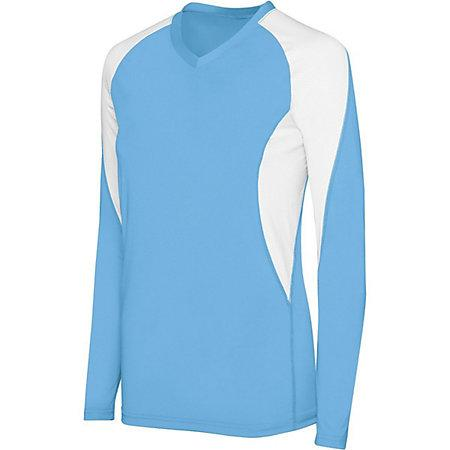 Girls Long Sleeve Court Jersey Columbia Blue/white Youth Volleyball