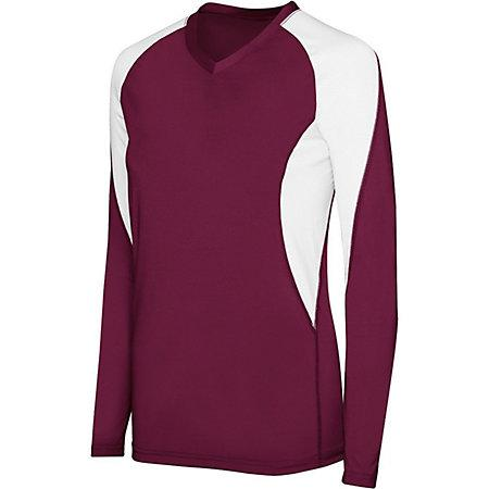 Girls Long Sleeve Court Jersey Maroon/white Youth Volleyball