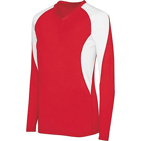Girls Long Sleeve Court Jersey Scarlet/white Youth Volleyball