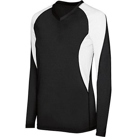 Girls Long Sleeve Court Jersey Black/white Youth Volleyball