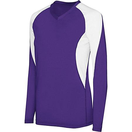 Girls Long Sleeve Court Jersey Purple/white Youth Volleyball