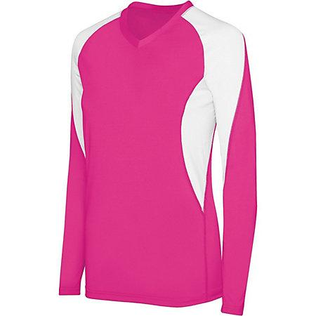 Girls Long Sleeve Court Jersey Raspberry/white Youth Volleyball