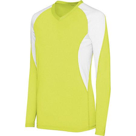 Girls Long Sleeve Court Jersey Lime/white Youth Volleyball