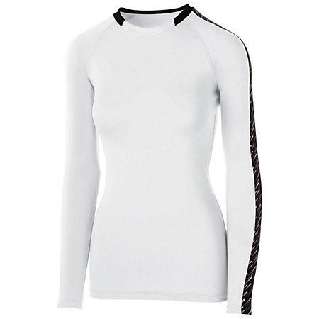 Girls Spectrum Long Sleeve Jersey White/black/white Youth Volleyball