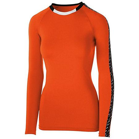 Girls Spectrum Long Sleeve Jersey Orange/black/white Youth Volleyball