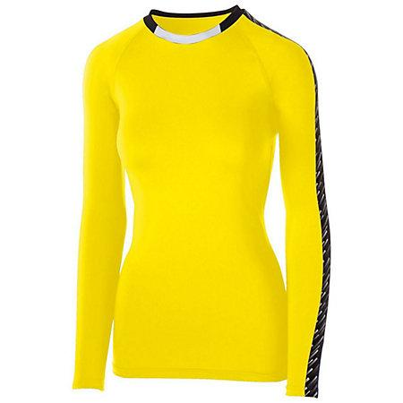 Girls Spectrum Long Sleeve Jersey Power Yellow/black/white Youth Volleyball