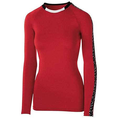 Girls Spectrum Long Sleeve Jersey Scarlet/black/white Youth Volleyball
