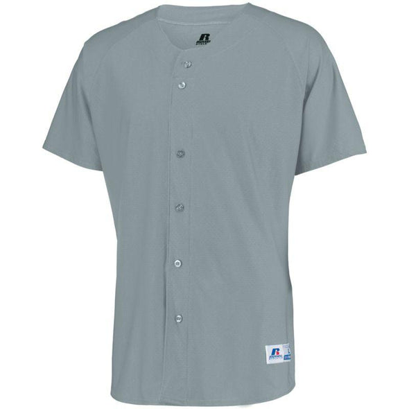 Raglan Sleeve Button Front Jersey Baseball Grey Adult