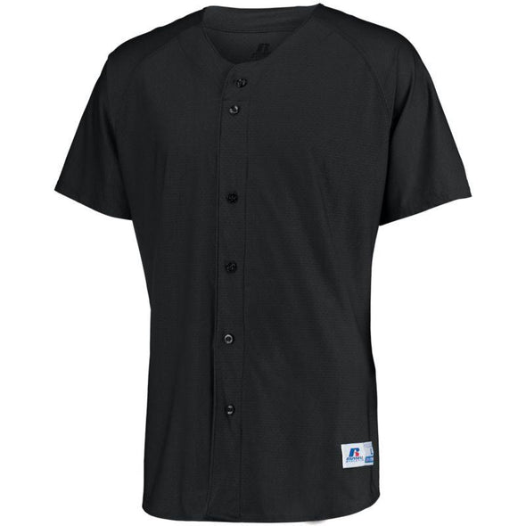 Raglan Sleeve Button Front Jersey Black Adult Baseball