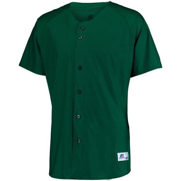 Raglan Sleeve Button Front Jersey Dark Green Adult Baseball