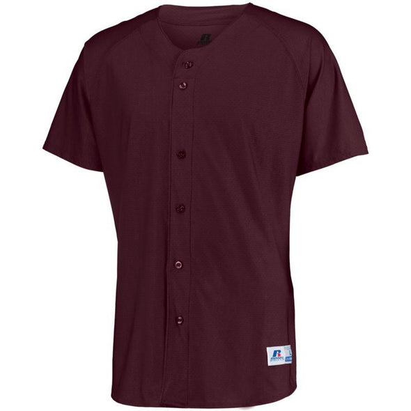 Raglan Sleeve Button Front Jersey Maroon Adult Baseball