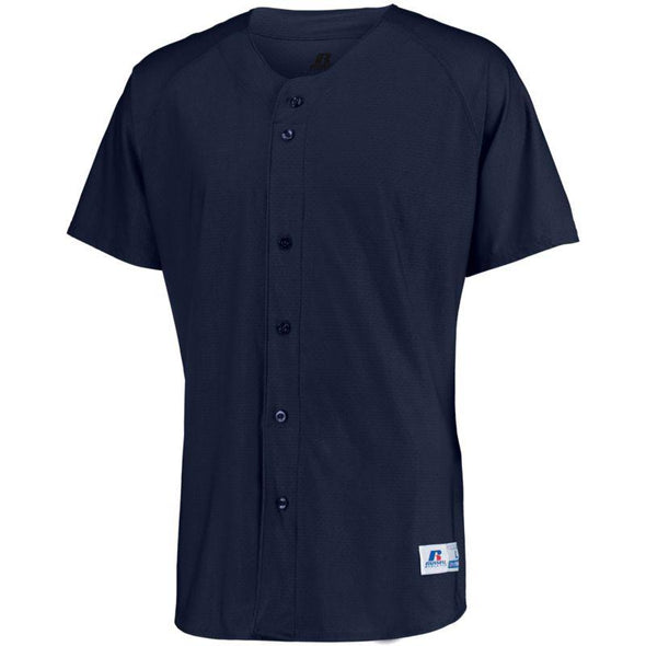 Raglan Sleeve Button Front Jersey Navy Adult Baseball
