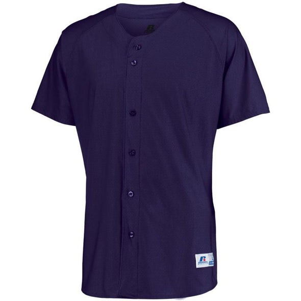 Raglan Sleeve Button Front Jersey Purple Adult Baseball