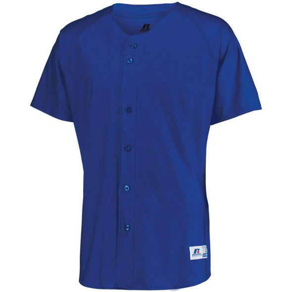 Raglan Sleeve Button Front Jersey Royal Adult Baseball