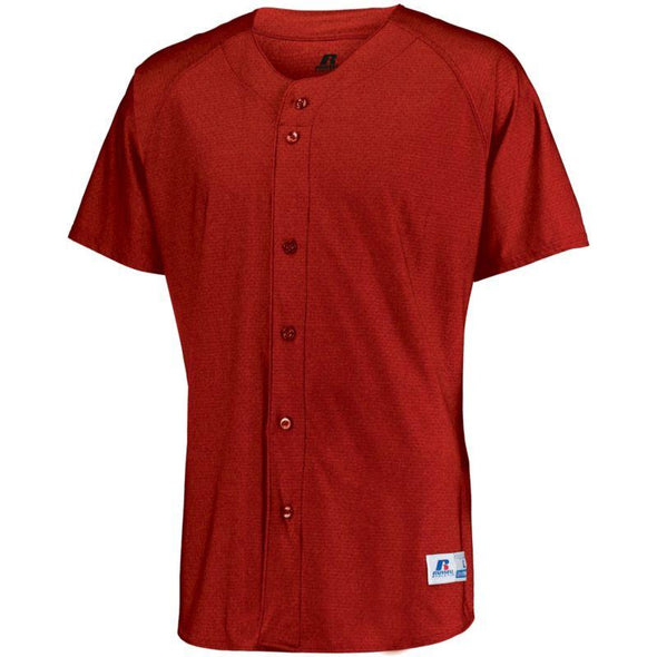 Raglan Sleeve Button Front Jersey True Red Adult Baseball