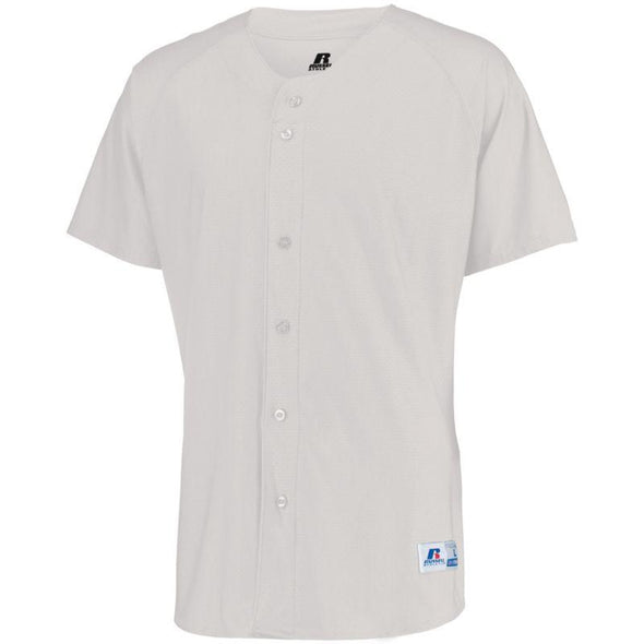 Raglan Sleeve Button Front Jersey White Adult Baseball