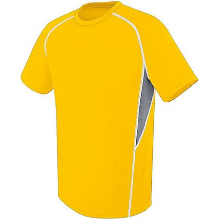 Youth Evolution Short Sleeve Athletic Gold/graphite/white Single Soccer Jersey & Shorts