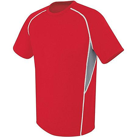 Youth Evolution Short Sleeve Scarlet/graphite/white Single Soccer Jersey & Shorts