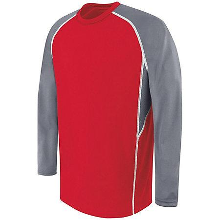 Adult Long Sleeve Evolution Top Scarlet/graphite/white Single Soccer Jersey & Shorts