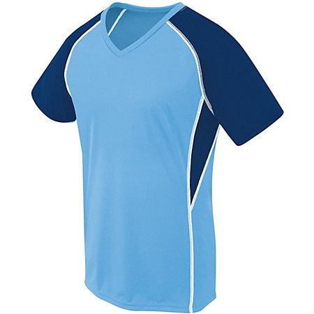 Ladies Evolution Short Sleeve Columbia Blue/navy/white Adult Volleyball
