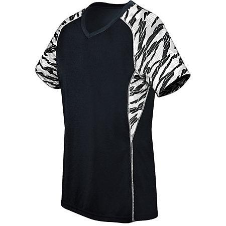 Ladies Printed Evolution Short Sleeve Black/fragment Print/white Adult Volleyball