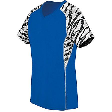 Ladies Printed Evolution Short Sleeve Royal/fragment Print/white Adult Volleyball