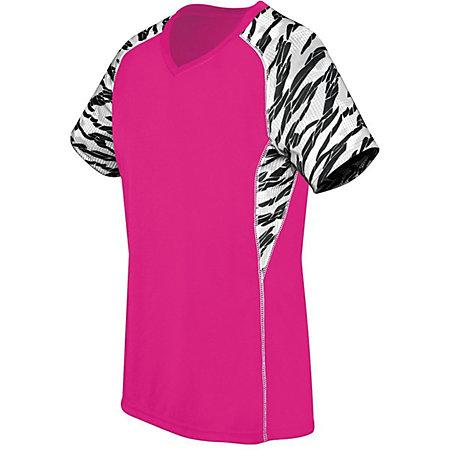 Ladies Printed Evolution Short Sleeve Raspberry/fragment Print/white Adult Volleyball