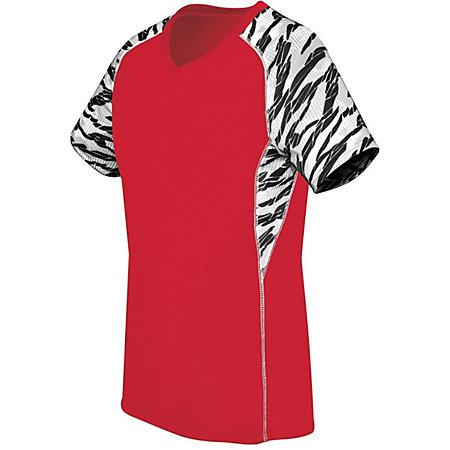 Ladies Printed Evolution Short Sleeve Scarlet/fragment Print/white Adult Volleyball