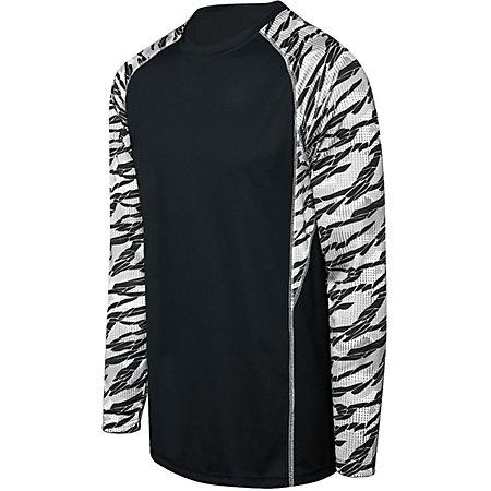 Adult Evolution Print Long Sleeve Black/fragment Print/white Single Soccer Jersey & Shorts