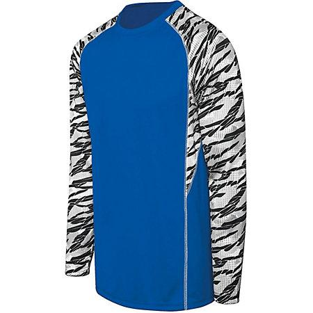 Adult Evolution Print Long Sleeve Royal/fragment Print/white Single Soccer Jersey & Shorts