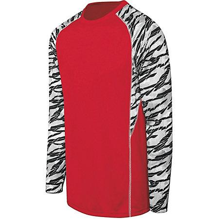 Adult Evolution Print Long Sleeve Scarlet/fragment Print/white Single Soccer Jersey & Shorts