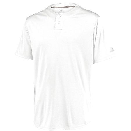 Youth Performance Two-Button Solid Jersey White Baseball