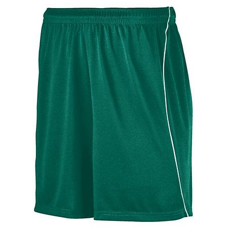 Youth Wicking Soccer Shorts With Piping Dark Green/white Single Jersey &