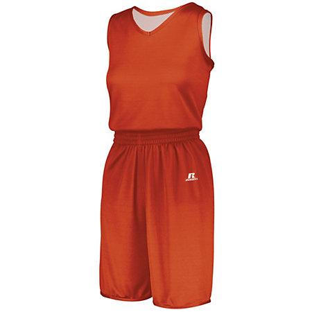 Ladies Undivided Solid Single-Ply Reversible Jersey Burnt Orange/white Basketball Single & Shorts