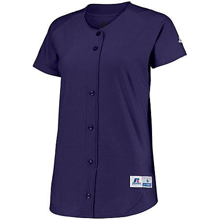 Ladies Stretch Faux Button Jersey Purple Softball