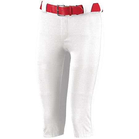 Ladies Low Rise Knicker Length Pant White Softball