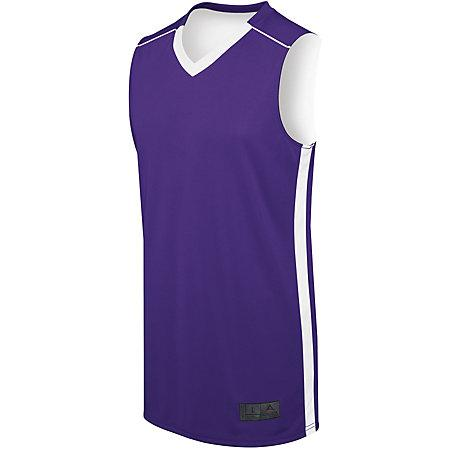 Ladies Competition Reversible Jersey Purple/white Basketball Single & Shorts