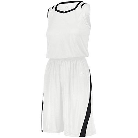 Shorts de corte atlético para damas Blanco / negro Baloncesto Single Jersey &