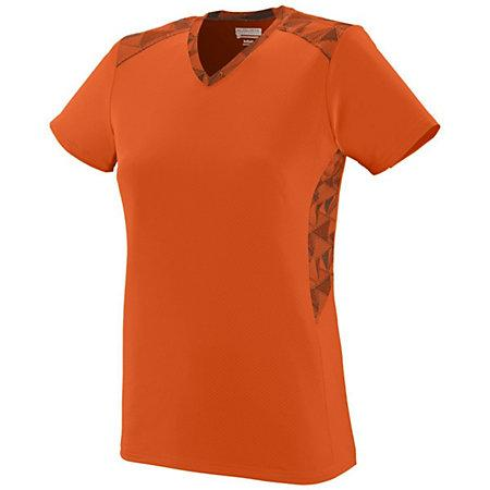 Girls Vigorous Jersey Orange/orange/black Print Softball