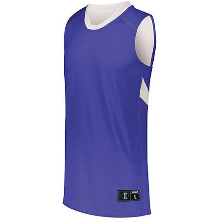 Youth Dual-Side Single Ply Basketball Jersey Purple/white & Shorts
