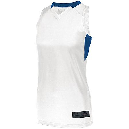 Señoras Step-Back Baloncesto Jersey Blanco / royal Single y Shorts