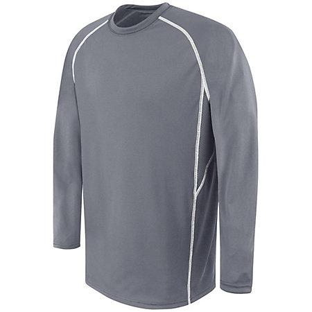 Adult Long Sleeve Evolution Top Graphite/graphite/white Basketball Single Jersey & Shorts