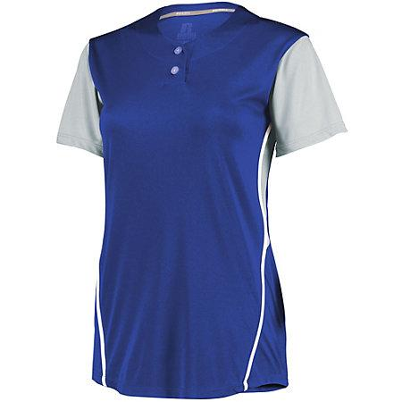 Ladies Performance Two-Button Color Block Jersey Royal/baseball Grey Softball