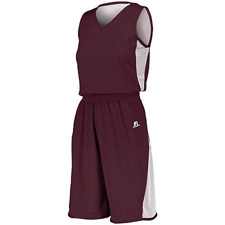 Ladies Undivided Single Ply Reversible Shorts Maroon/white Basketball Jersey &