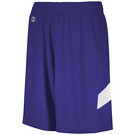 Youth Dual-Side Single Ply Basketball Shorts Purple/white Jersey &