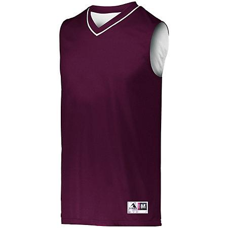 Reversible Two Color Jersey Maroon/white Adult Basketball Single & Shorts