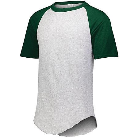 Short Sleeve Baseball Jersey Athletic Heather/dark Green Adult