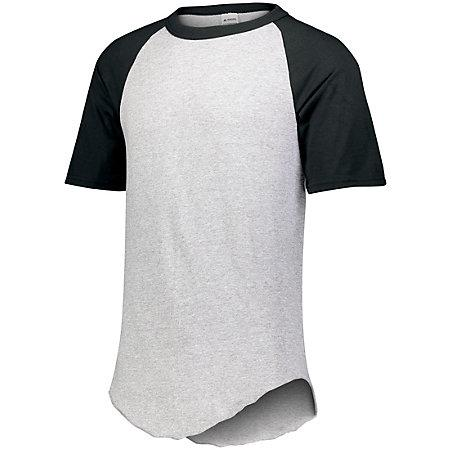 Short Sleeve Baseball Jersey Athletic Heather/black Adult