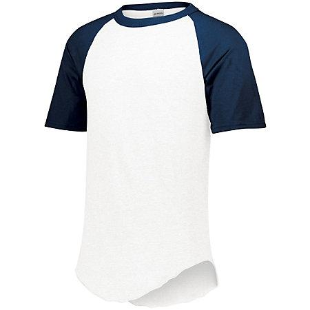 Short Sleeve Baseball Jersey White/navy Adult