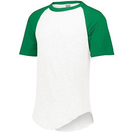 Short Sleeve Baseball Jersey White/kelly Adult